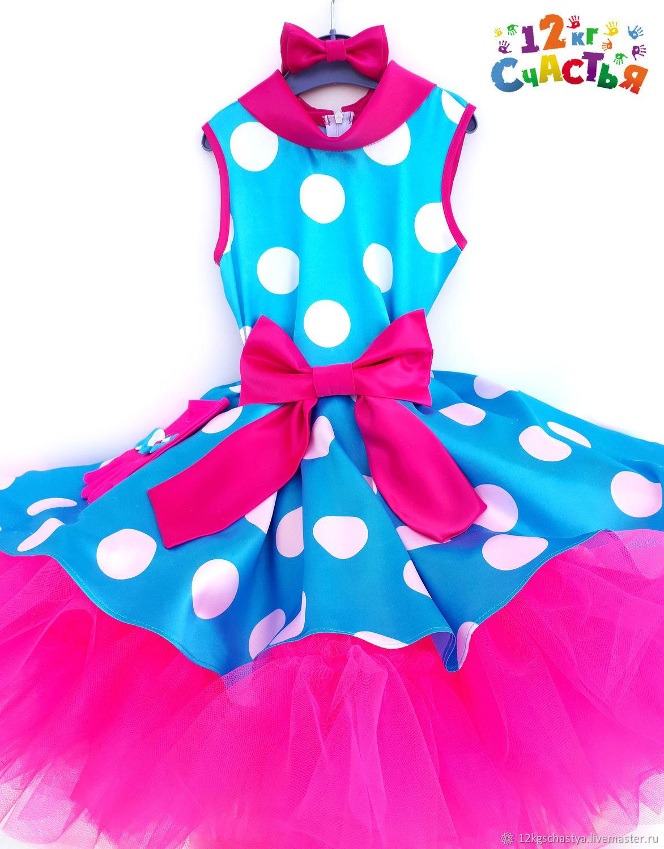 """Платье для девочки """"Стиляги (на голубом атласе крупный белый горох)"""""""