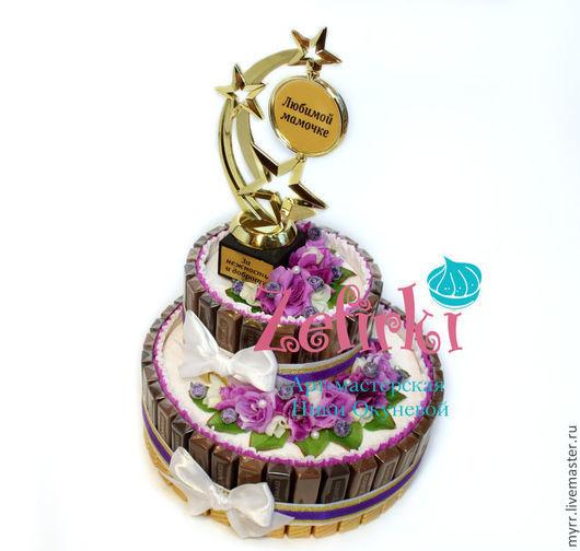 Кулинарные сувениры ручной работы. Ярмарка Мастеров - ручная работа. Купить На день матери Подарок маме на день рождения Торт из шоколада. Handmade.