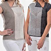 Одежда handmade. Livemaster - original item 100%linen t shirt two-tone Paying. Handmade.