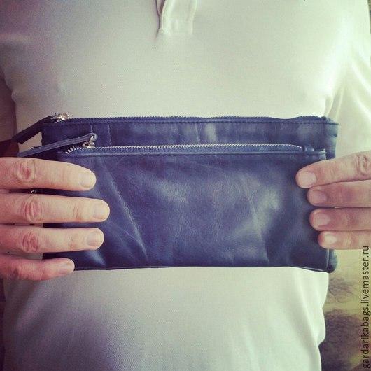 Мужские сумки ручной работы. Ярмарка Мастеров - ручная работа. Купить Кошелек барсетка синий СКИДКА 20%. Handmade.