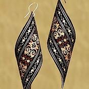 Украшения handmade. Livemaster - original item Earrings with micromosaic of wood Petals wooden inlay unique gift. Handmade.