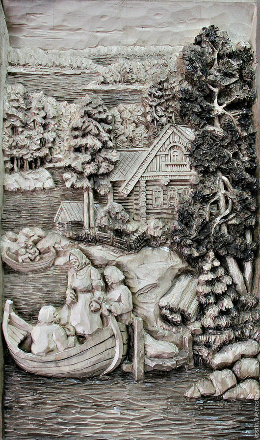 Пейзаж ручной работы. Ярмарка Мастеров - ручная работа. Купить Тишина5. Handmade. Резная картина, картина из дерева, картина для интерьера
