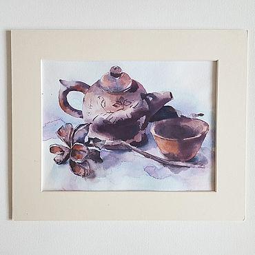 """Картины и панно ручной работы. Ярмарка Мастеров - ручная работа Картина в кухню """"Натюрморт с чайником"""", Акварель. Handmade."""