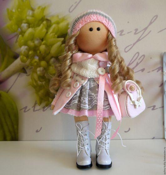 Коллекционные куклы ручной работы. Ярмарка Мастеров - ручная работа. Купить Текстильная куколка-малышка Нинель. Handmade. Бледно-розовый
