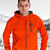 Одежда handmade. Livemaster - original item Orange hoodie, bright men`s hoodie with zipper. Handmade.