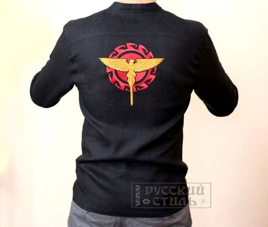 """Для мужчин, ручной работы. Ярмарка Мастеров - ручная работа. Купить Рубаха """"Хранитель Солнца"""". Handmade. Черный, славянская рубаха"""