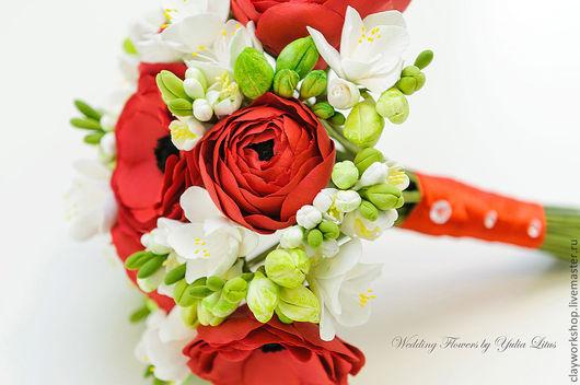 Цветы ручной работы. Ярмарка Мастеров - ручная работа. Купить Букет невесты из полимерной глины с ранункулюсами. Handmade. Букет невесты
