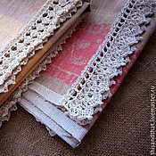 Для дома и интерьера handmade. Livemaster - original item Towels linen with lace. Handmade.