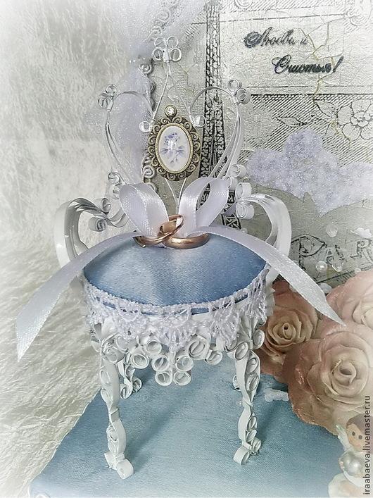 Свадебные аксессуары ручной работы. Ярмарка Мастеров - ручная работа. Купить Подушечка для колец Седьмое небо Парижа. Handmade. Голубой