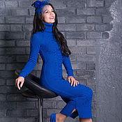 """Одежда ручной работы. Ярмарка Мастеров - ручная работа Платье """"Зимний шик"""" синее макси. Handmade."""
