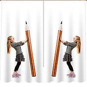 """Для дома и интерьера ручной работы. Ярмарка Мастеров - ручная работа Комплект штор """"Пора в школу"""" с фотопечатью. Handmade."""