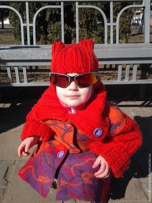 """Одежда для девочек, ручной работы. Ярмарка Мастеров - ручная работа. Купить Пальто валяное детское """"Огонек"""". Handmade. Ярко-красный"""