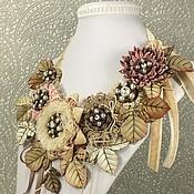 Украшения handmade. Livemaster - original item Hazy Pink Dal. necklace and brooch. Leather, textiles, pearls. Handmade.