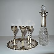 Винтаж manualidades. Livemaster - hecho a mano El conjunto de la jarra que tenía en el vaso de la bandeja de cristal Plateado WMF 1910g. Handmade.