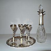 Винтаж handmade. Livemaster - original item Set decanter glasses tray crystal Silver WMF 1910. Handmade.