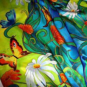 """Аксессуары ручной работы. Ярмарка Мастеров - ручная работа Шарф батик """"Бабочки"""". Handmade."""