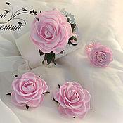 """Комплект """"Розы"""" (ободок, резинки для волос и браслет). Арт. КМ-37."""