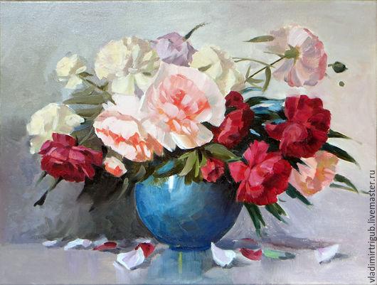 Картины цветов ручной работы. Ярмарка Мастеров - ручная работа. Купить Пионы в вазе. Handmade. Цветы, Живопись, картина для настроения