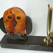 """Для дома и интерьера ручной работы. Ярмарка Мастеров - ручная работа Подставка для ручки """"Совенок"""" из симбирцита. Handmade."""