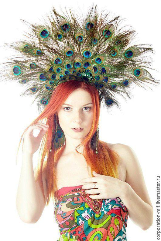 """Диадемы, обручи ручной работы. Ярмарка Мастеров - ручная работа. Купить Корона из перьев """"Птица Счастья"""". Handmade. Разноцветный"""