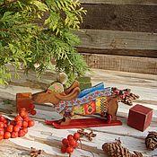 """Подарки к праздникам ручной работы. Ярмарка Мастеров - ручная работа """"Лыжник"""" такса-фигурка-символ года. Handmade."""
