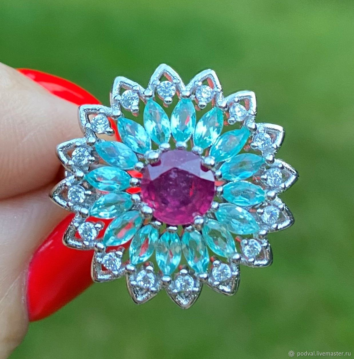Ring with natural Apatite, Camilla ruby(p 18), Rings, Korolev,  Фото №1