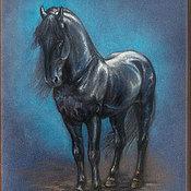 """Картины и панно ручной работы. Ярмарка Мастеров - ручная работа Пастельная картина """"Чёрный конь"""". Handmade."""
