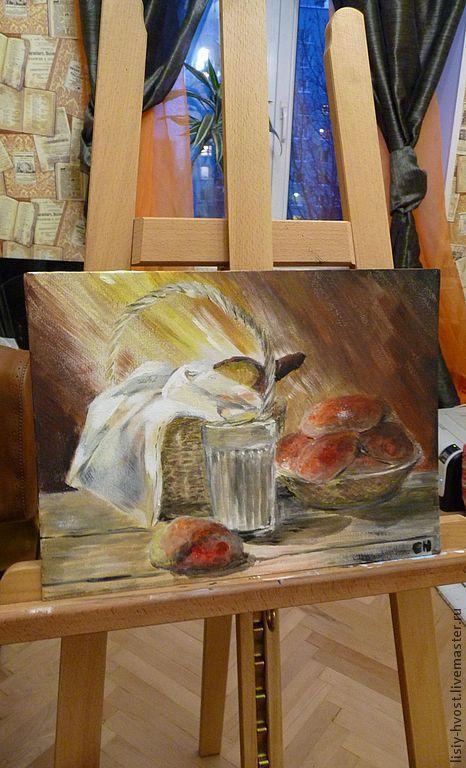 """Натюрморт ручной работы. Ярмарка Мастеров - ручная работа. Купить Картина """"Как в детстве"""" (пирожки с малиной) (натюрморт). Handmade. Бежевый"""