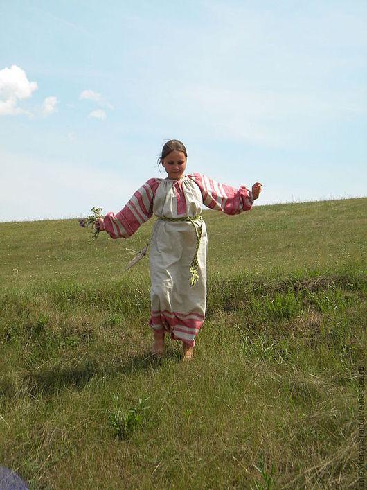 Одежда ручной работы. Ярмарка Мастеров - ручная работа. Купить Рубаха женская льняная цельнорукавная. Handmade. Серый, женская одежда