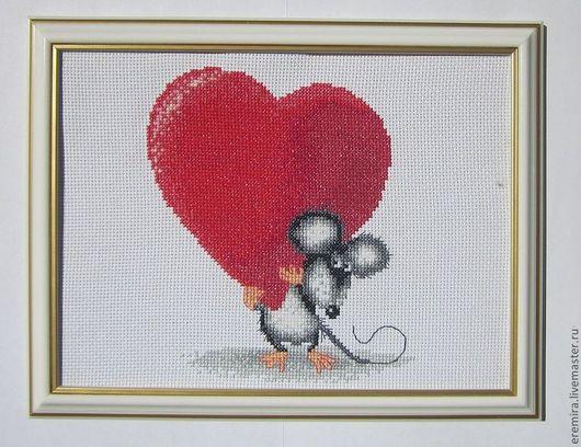 """Животные ручной работы. Ярмарка Мастеров - ручная работа. Купить Картина """"Это Тебе!"""". Handmade. Ярко-красный, мышонок, сердце"""
