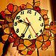 """Часы для дома ручной работы. Ярмарка Мастеров - ручная работа. Купить Витражные часики""""Осеннее чудо"""". Handmade. Часы интерьерные, цветы"""