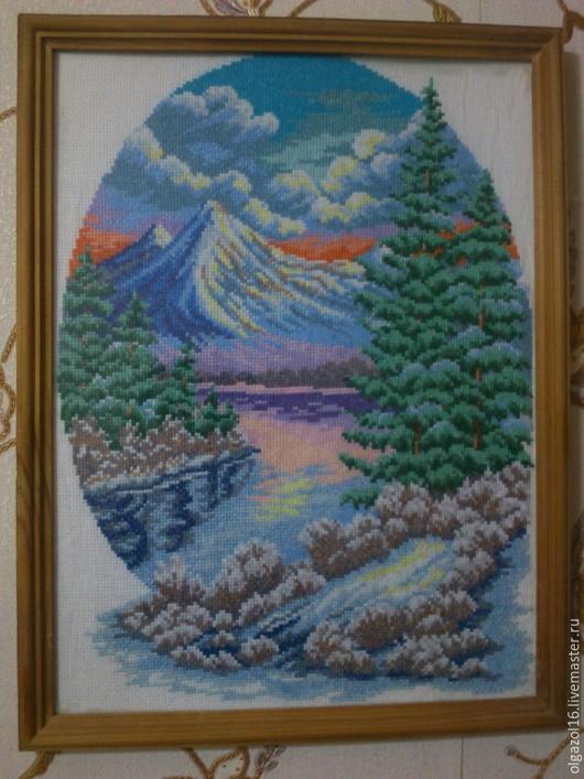 Пейзаж ручной работы. Ярмарка Мастеров - ручная работа. Купить Вышитая крестиком картина. 3000 руб.. Handmade. Вышитые картины