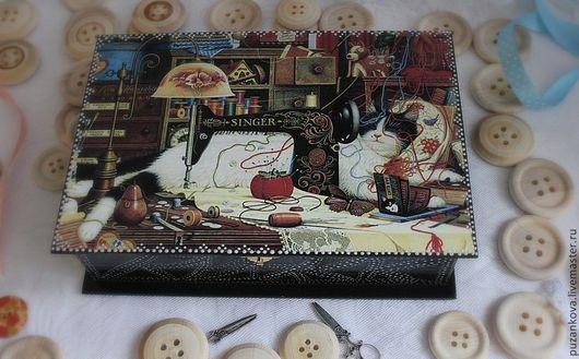 """Шкатулки ручной работы. Ярмарка Мастеров - ручная работа. Купить Короб """"Кот-рукодельник"""". Handmade. Черный, шкатулка для мелочей"""