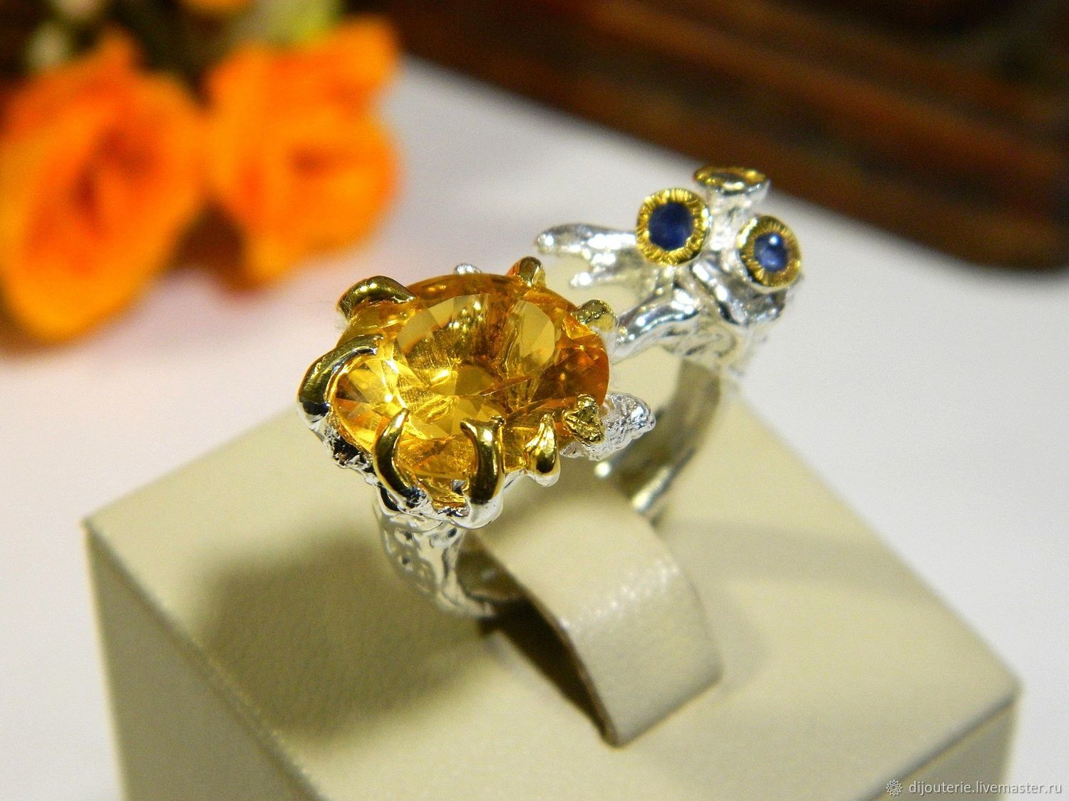 Chic Citrine! Ring with Citrine, Sapphires. Silver ring, Rings, Saratov,  Фото №1