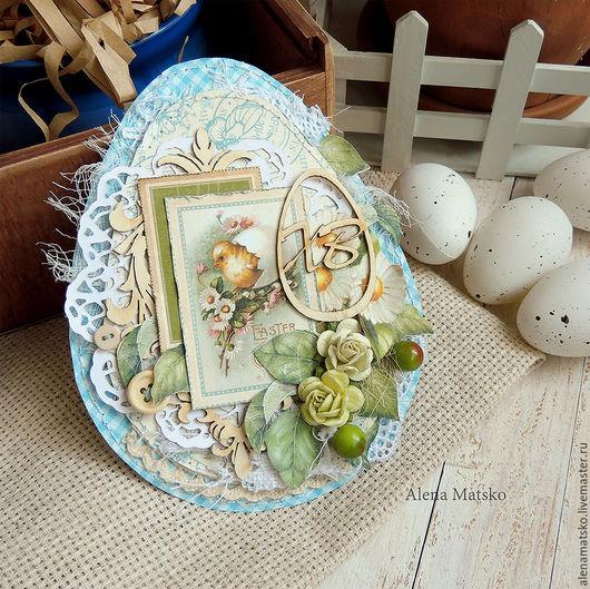 Открытки к Пасхе ручной работы. Ярмарка Мастеров - ручная работа. Купить Тег Пасхальный в форме яйца. Handmade. Голубой, Пасха