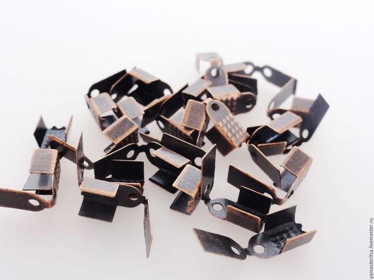 Для украшений ручной работы. Ярмарка Мастеров - ручная работа. Купить (10 шт) Концевик зажим для шнура ленты 4 мм с крышкой. Handmade.