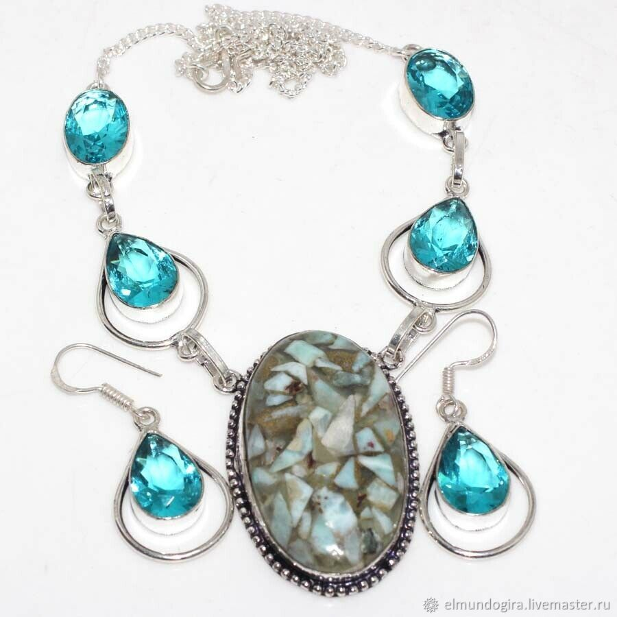 Larimar necklace with blue topaz in silver, Jewelry Sets, Moscow,  Фото №1