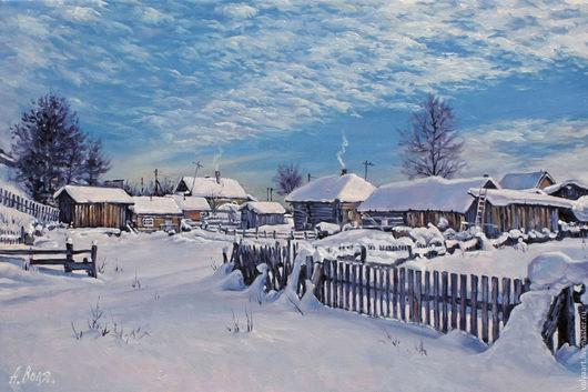 Пейзаж ручной работы. Ярмарка Мастеров - ручная работа. Купить Деревня.. Handmade. Пейзаж, зима, солнце, ограда, деревня, дым