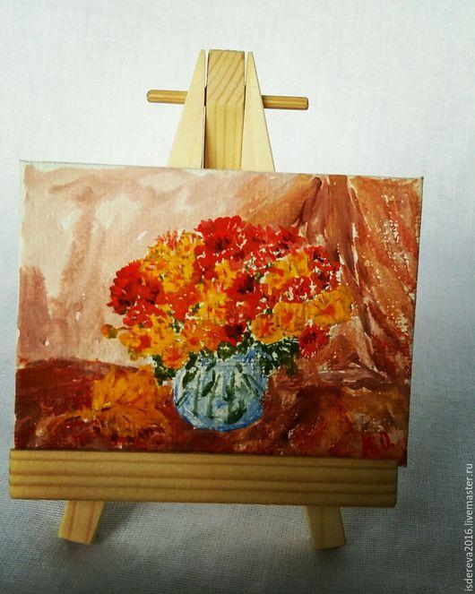 Картины цветов ручной работы. Ярмарка Мастеров - ручная работа. Купить Мини картина на хосте. Handmade. Холст, холст на подрамнике
