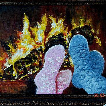 Картины и панно ручной работы. Ярмарка Мастеров - ручная работа Картины: Отдых у камина. Handmade.