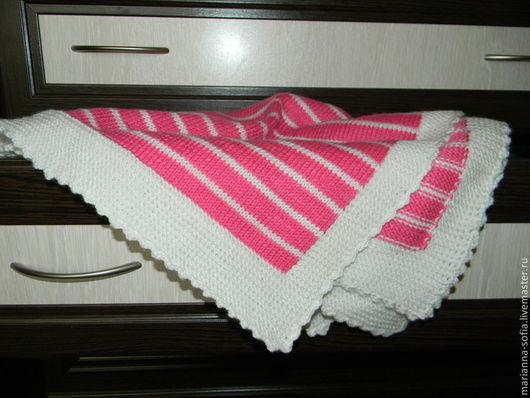 Пледы и одеяла ручной работы. Ярмарка Мастеров - ручная работа. Купить Полосатый плед для детской. Handmade. Розовый, плед в коляску