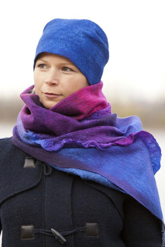"""Комплекты аксессуаров ручной работы. Ярмарка Мастеров - ручная работа. Купить шапка валяная шарф валяный шапка и шарф """"заколдованный замок"""". Handmade."""