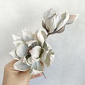 Украшения handmade. Livemaster - original item Brooch made of silk Magnolia. Handmade.