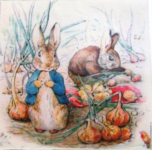 """Шитье ручной работы. Ярмарка Мастеров - ручная работа. Купить Купон """"Кролик Питер"""". Handmade. Комбинированный, ткань для пэчворка, лён"""
