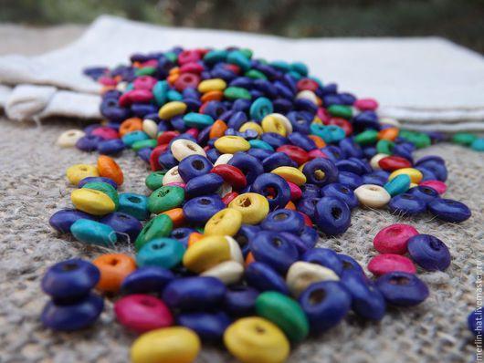 """Для украшений ручной работы. Ярмарка Мастеров - ручная работа. Купить Деревянные бусины """"НЛО"""" цветные 6 мм. Handmade."""