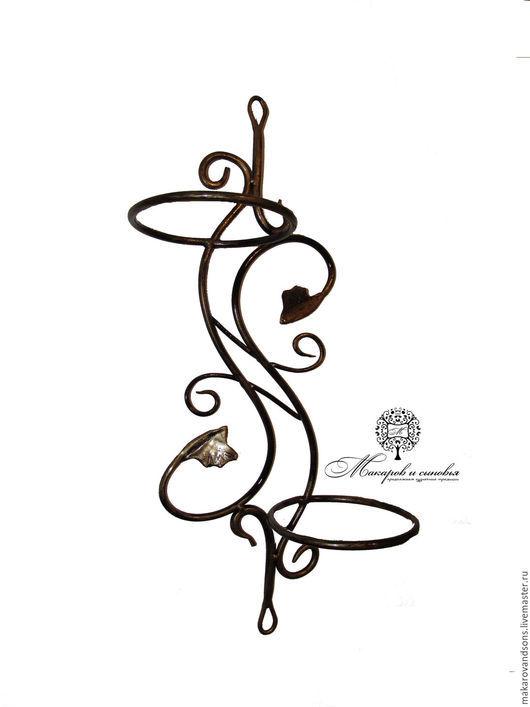 Подставки под цветы ручной работы. Ярмарка Мастеров - ручная работа. Купить Кованый настенный держатель на два горшка. Handmade.