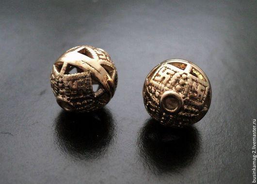 Для украшений ручной работы. Ярмарка Мастеров - ручная работа. Купить Бусины в буддистском стиле, пр-во Ю.Корея, розовое золото, 11мм. Handmade.