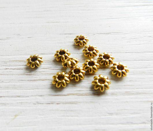 Бусина металлическая спейсер (разделитель бусин), размер 5,5*2 мм, отверстие 1,8 мм, цвет античное золото, материал - сплав металлов, не содержит свинца и никеля (арт. 2231)