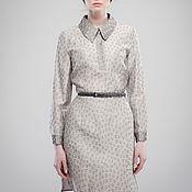 Одежда ручной работы. Ярмарка Мастеров - ручная работа Платье-рубашка из льна светло серое с цветочками. Handmade.