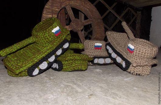 Обувь ручной работы. Ярмарка Мастеров - ручная работа. Купить тапки танки. Handmade. Хаки, танки